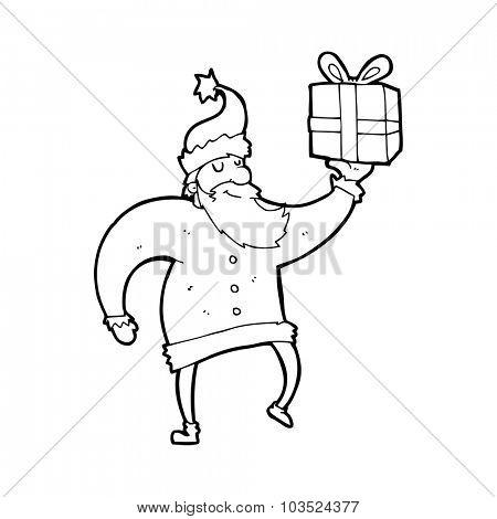 simple black and white line drawing cartoon  santa claus