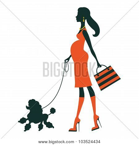 Beautiful pregnant woman silhouette with poodle