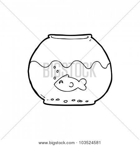 simple black and white line drawing cartoon  fish in bowl