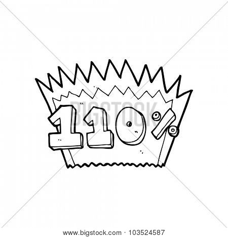 simple black and white line drawing cartoon  110% symbol