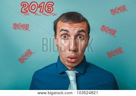 man surprised Portrait of a businessman in 2016, two thousand si