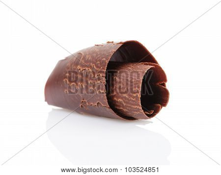 dark chocolate curl isolated on white