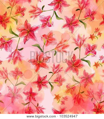 Watercolour lilies seamless background pattern, toned
