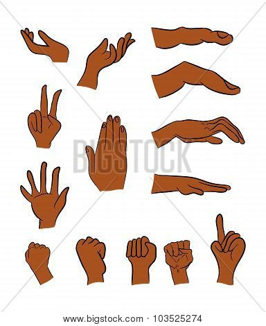 Image Of Cartoon Black Man, Negro Human Hand Gesture Set. Vector Illustration Isolated On White Back