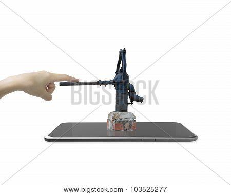 Human Hand Pushing Handle Of Retro Pump On Smart Tablet