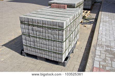Pallet Of Concrete Grey Pavement Blocks