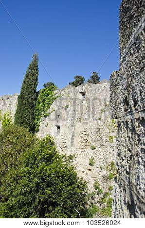 Medieval Wall In Greece With Trees Growing