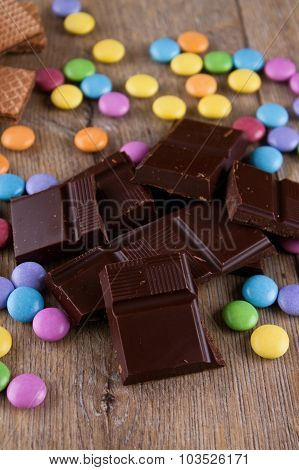 Bitter Chocolate And Color Coated sweets