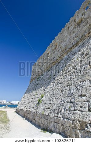 Medieval Wall Of A Fortress In Rhodes, Greece