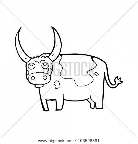 simple black and white line drawing cartoon  cow