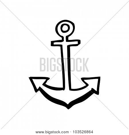 simple black and white line drawing cartoon  anchor symbol