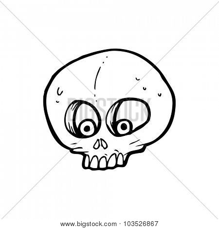 simple black and white line drawing cartoon  funny skull