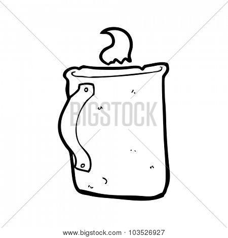 simple black and white line drawing cartoon  old tin coffee mug