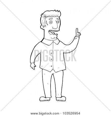 simple black and white line drawing cartoon  stressed man