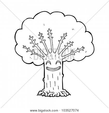 simple black and white line drawing cartoon  happy tree