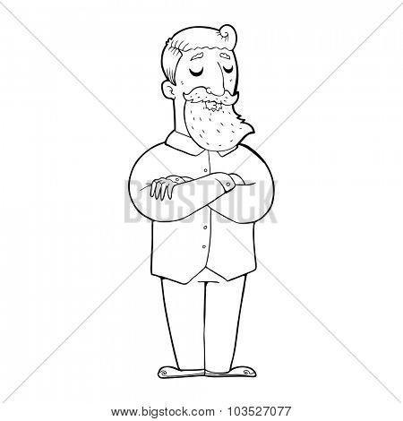 simple black and white line drawing cartoon  hipster man