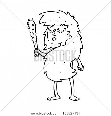 simple black and white line drawing cartoon  cave woman