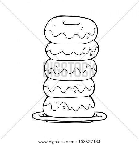 simple black and white line drawing cartoon  plate of donuts