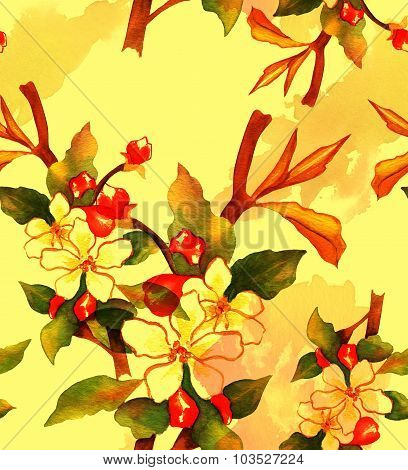 Retro-styled watercolor drawing of a branch of abstract flowers, seamless background pattern, toned
