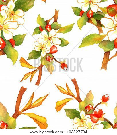 Retro-styled watercolor branch of abstract white and red flowers, seamless background pattern