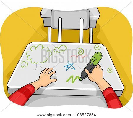 Illustration of a Kid Drawing Doodles on His Table
