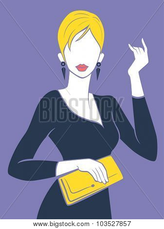 Illustration of a Fashionable Girl Holding a Yellow Hand Bag