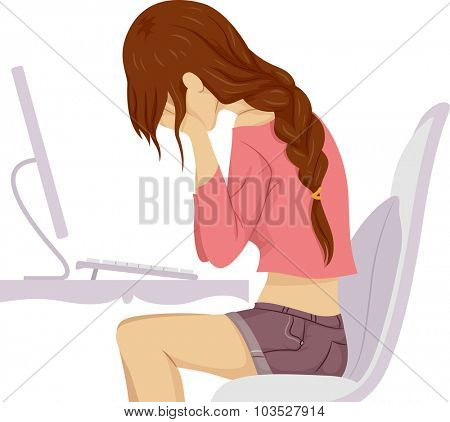 Illustration of a Teenage Girl Crying in Front of Her Computer