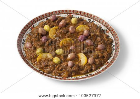 Dish with traditional moroccan kercha for Eid al-Adha on white background