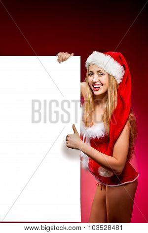happy woman in santa helper hat