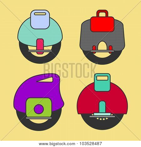 Self-balancing Electric Unicycle Vector Icon