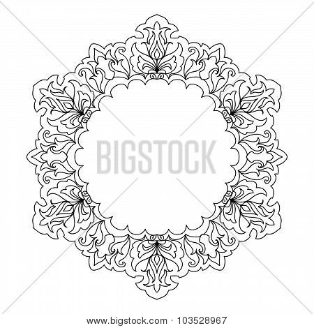 Abstract mandala frame mehndi elements
