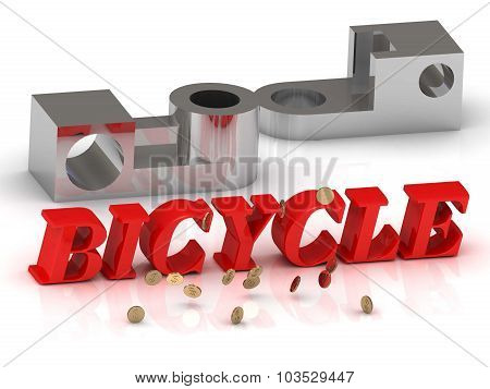 Bicycle- Inscription Of Red Letters And Silver Details