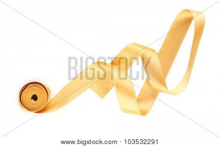 Peach satin ribbon isolated on white