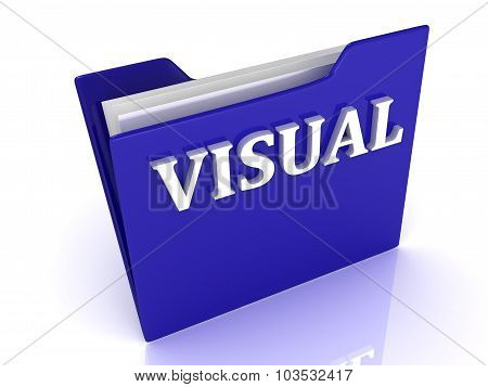 Visual Bright White Letters On A Blue Folder