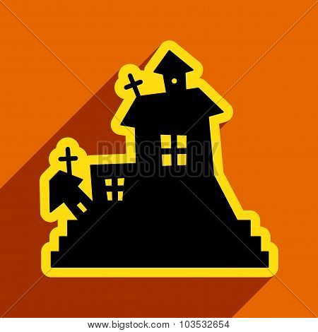 Flat with shadow icon and mobile application haunted house