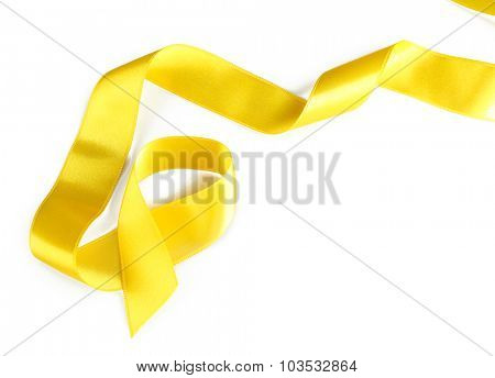Yellow silk ribbon isolated on white