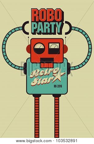 Party vintage poster with retro robot. Vector illustration.