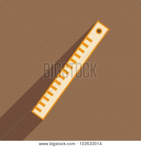 Flat with shadow icon and mobile application ruler