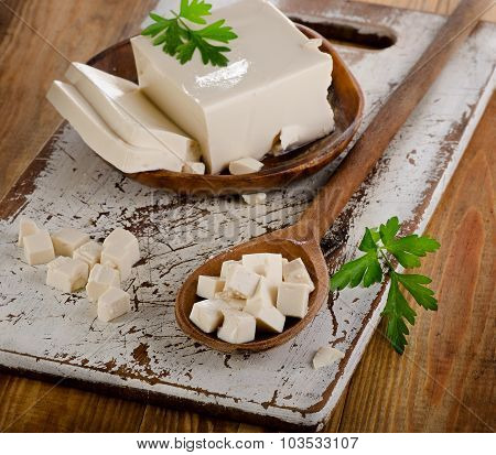 Soy Tofu On Wooden Table.