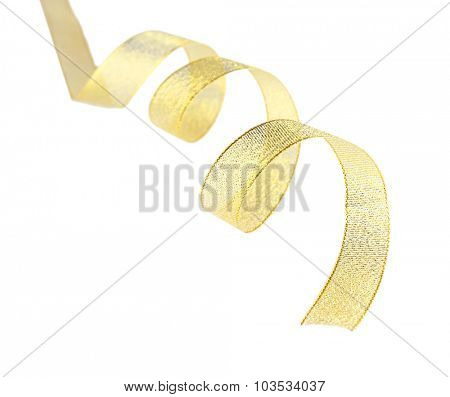 Golden curly ribbon isolated on white
