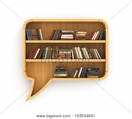 Concept Of Training. Wooden Bookshelf Full Of Book In Form Of Dialog. Learn In Dialog. Psychology.