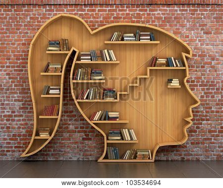 Concept Of Training. Wooden Bookshelf Full Of Book In Form Of Woman Head On A Bricks Background. Sc