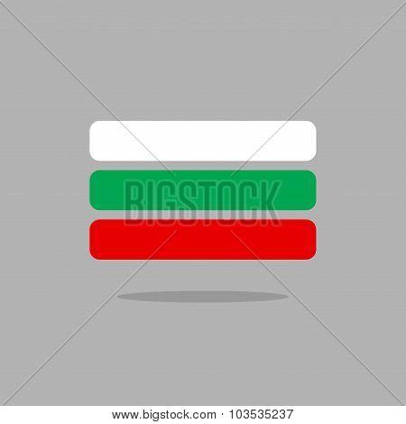 Bulgaria Flag. Stylized Bulgarian Flag Of Geometrical Elements. Vector Illustration