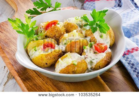 Hot Baked Potato With Vegetables And Sour Cream.