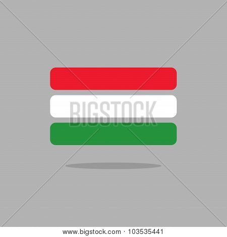 Hungary Flag. Stylized Hungarian Flag From Geometry. Vector Illustration