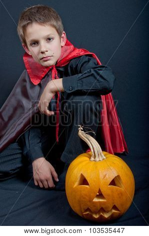 Boy Dressed Like Vampire For Halloween Party