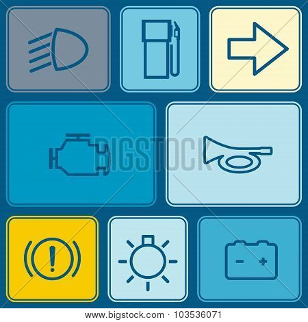 Seamless background with car dashboard icons