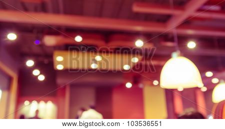 Abstract Blur Background Of  Restaurant's Ceiling In The Shopping Mall,vintage Toning