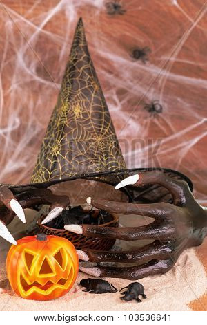 Halloween Witch Hands, Rats And Hat