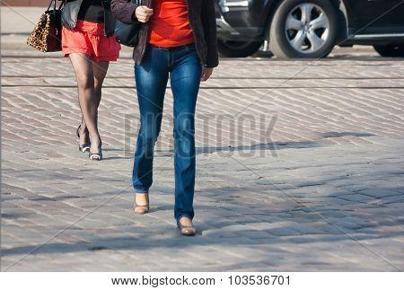 Pedestrians Crossing At A Pedestrian Crossing